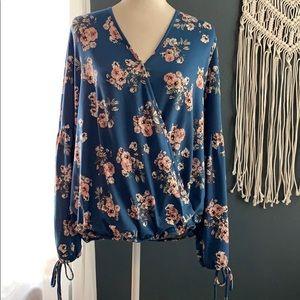 Floral long sleeve boho top